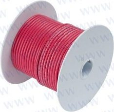 8' Tinned Copper Wire 10 AWG (5mm²) Red