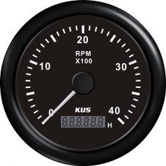 Kus omdr.tæller benzin 0-4000 1.-10p m/timet.sort 12/24v ø85
