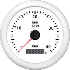 Kus omdr.tæller benzin 0-4000 1.-10p m/timet.hvid 12/24v ø85