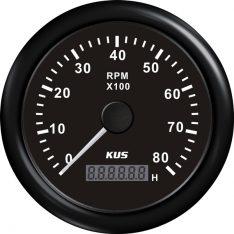 Kus omdr.tæller benzin 0-8000 1.-10p m/timet.sort 12/24v ø85