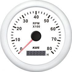 Kus omdr.tæller benzin 0-8000 1.-10p m/timet.hvid 12/24v ø85